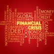 Financial Crisis Word Cloud Red Background — Stock Vector
