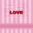 Love Heart Shape Word Cloud on Pink Background — Stock Vector