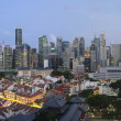 Singapore Skyline Along Chinatown Evening — Stock Photo
