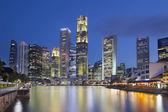 Singapore Skyline by Boat Quay — Stock Photo