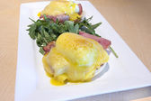 Eggs Benedict Breakfast Dish Closeup — Stock Photo