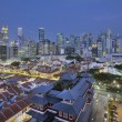 Singapore Central Business District Over Chinatown Blue Hour - Stock Photo
