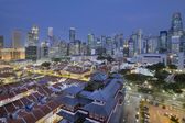Singapore Central Business District Over Chinatown Blue Hour — Stock Photo