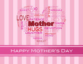Mothers Day Word Cloud Greeting Card — Stock Vector