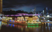 Nightlife at Clarke Quay Singapore Aerial — Stock Photo