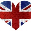 England Union Jack Flag Heart Textured — Vettoriali Stock