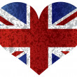 England Union Jack Flag Heart Textured — Stockvektor