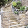 Foto de Stock  : Stone Veneer Facade on Home Exterior Staircase