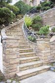 Stone Veneer Facade on Home Exterior Staircase — Stock Photo