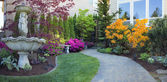 Frontyard Landscaping with Paver Walkway — Stock Photo