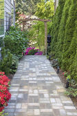Garden Brick Paver Path with Arbor — Stock Photo