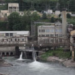 Stock Video: Willamette Falls in Oregon City with Hydro Electric Generation Facility 1080p