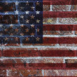 USA Flag on Brick Wall Background — ストック写真