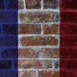Stock Photo: French Flag on Brick Wall Background