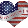 Happy 4th of July Heart with Scroll — Imagens vectoriais em stock