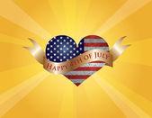 Feliz 4 de coração de julho com raios de sol e rolagem — Vetor de Stock
