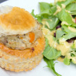 Stock Photo: Chicken Pot Pie with Salad Closeup