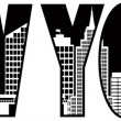 New York Text Skyline Outline Illustration — Stock Vector