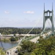 St Johns Bridge with Traffic Over Willamette River — Stock Photo