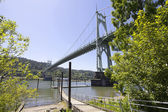 St Johns Bridge Over Willamette River — Stock Photo