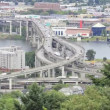 Stock Video: Marquam Bridge Freeway Traffic Timelapse over Willamette River in Portland Oregon 1920x1080
