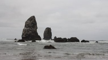 Beautiful Painterly Cannon Beach Oregon Oceanfront at Lowtide with Waves One Early Foggy Morning 1920x1080 — Stock Video
