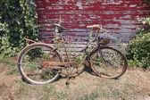 Vieux vélo rouillé avec panier de fleurs de lavande — Photo