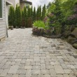 Backyard Brick Paver Patio with Pond — Stock Photo