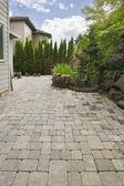 Backyard Brick Paver Patio with Pond — Stock Photo
