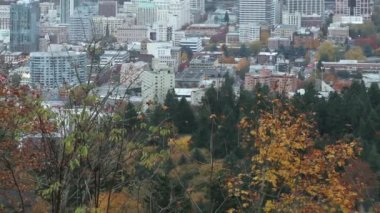 Portland Oregon City Downtown Time Lapse with Traffic from Dusk to Night in Fall Autumn Season 1920x1080 — Stock Video