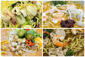 Southeast Asian Singapore Noodles Dishes Collage — Stock Photo