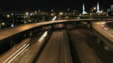 Rush Hour Traffic on Interstate Highways Time Lapse in Downtown Portland Oregon with Long Exposure Light Trails at Night 1920x1080 — Stock Video