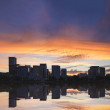 Portland Oregon Downtown Waterfront Skyline Sunset Panorama — Stock Photo #29135505