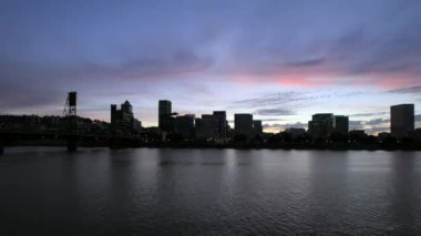 Sunset into Blue Hour Along Willamette River Esplanade Time Lapse with Downtown City Skyline View in Portland Oregon 1920x1080 — Stock Video