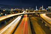 Interstate Freeway Light Trails Through Portland at Blue Hour — Stock Photo