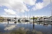 Marina Reflection at Granville Island Vancouver BC — Stock Photo