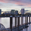 Portland Skyline by the Boat Dock at Sunset — Stock Photo