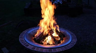 Wood Burning Fire Pit with Orange Flames at Night 1920x1080 — Stock Video