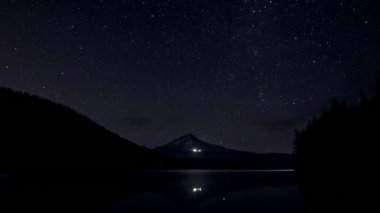 Perseid Meteor Shower in Trillium Lake with Mount Hood and Brightly Lit Ski Lodge Timelapse 1920x1080 — Stock Video