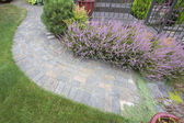 Front Yard Garden Curve Paver Path Top View — Stock Photo