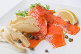 Smoked Salmon with Capers Closeup — Stock Photo