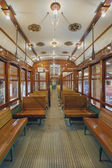 Old Historic Restored Tram Interior — Stok fotoğraf