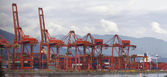 Port of Vancouver BC Cranes and Containers — Foto de Stock
