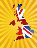 United Kingdom Map with Flag Sun Rays — Stockvektor