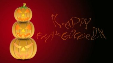 Flickering Candlelights in Stacked Carved Pumpkins with Happy Halloween Text on Red and Black Background 1920x1080 — Vídeo Stock