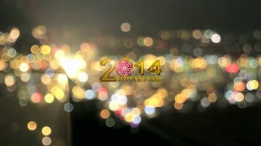 2014 Happy New Year Text with Red Snowflake Ornament on Colorful Sparkling City Bokeh and Flashing Lights Background — Stock Video