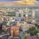 Vancouver bc stadsbilden med seger kvadrat — Stockfoto