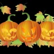 Stock Video: Happy Halloween Twinkling Tealight Candle Lit Carved Pumpkins with Falling Autumn Leaves on Black Background 1080p