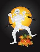 Halloween Mummy Carved Pumpkin Illustration — Stock vektor