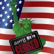Government Shutdown Statue of Liberty Closed Sign Illustration — Stock Vector #32669651